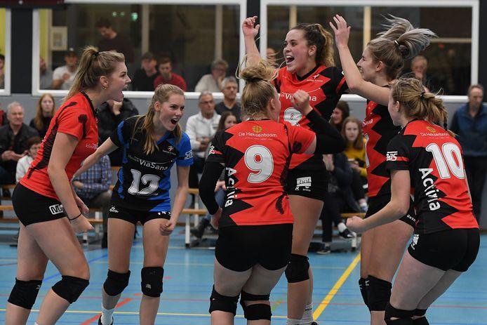 De volleybalsters van Activia hebben reden tot juichen: ze zijn gepromoveerd naar de topdivisie.