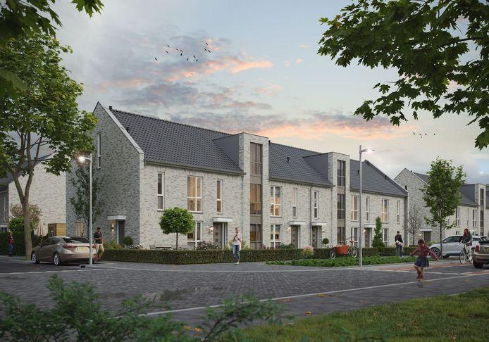 Woningbouwplan van Van Wanrooij Bouw en Ontwikkeling voor de locatie van het oude politiebureau aan de Koning Arthurlaan in de Woenselse buurt Jagershoef in Eindhoven. Binnenkort start de sloop van het bureau.