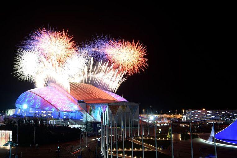 Vuurwerk bij de opening van de Winterspelen. Beeld afp