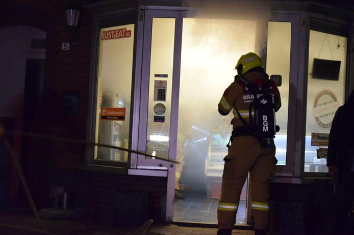 De brand in de pizzeria.