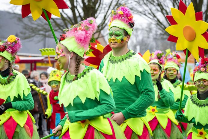 Sfeerfoto van carnavals optocht door De Lutte