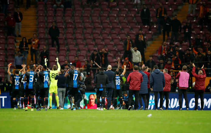Soccer Football - Champions League - Group A - Galatasaray v Club Brugge - Turk Telekom Stadium, Istanbul, Turkey - November 26, 2019  Club Brugge coach Philippe Clement and his players celebrate after the match        REUTERS/Umit Bektas