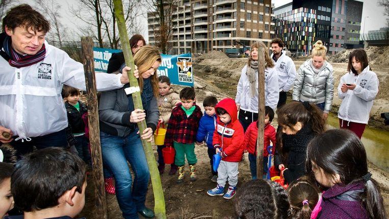 Marianne Thieme (landelijke fractievoorzitter van de Partij voor de Dieren) plant een boom met de Amsterdamse lijsttrekker Johannes van Lammeren (links) Beeld Klaas Fopma