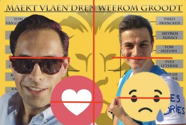 De vergelijking die Van Langenhove gemaakt zou hebben tussen zijn afbeelding en die van Tom Van Grieken.