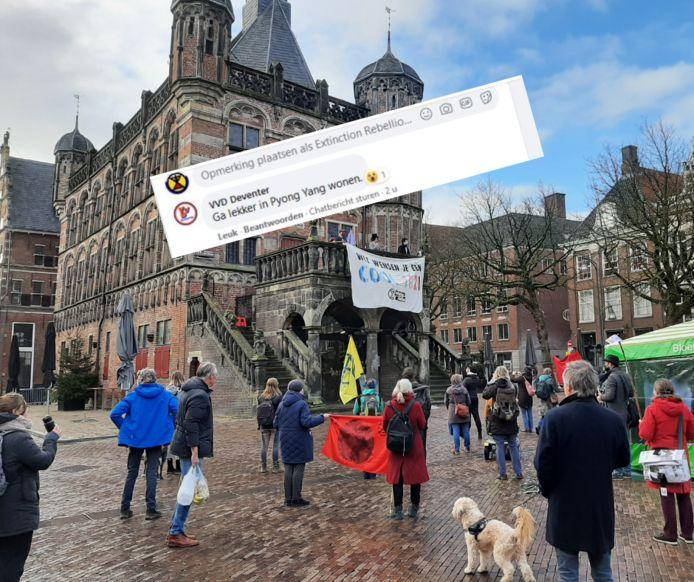 De VVD Deventer reageerde zaterdag op een Facebook-bericht van de Deventer tak van Extinction Rebellion.