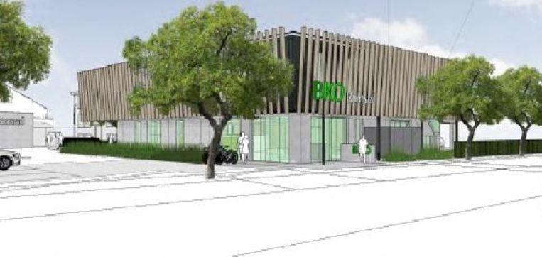 Een toekomstbeeld van de voorkant van het nieuwe gebouw.