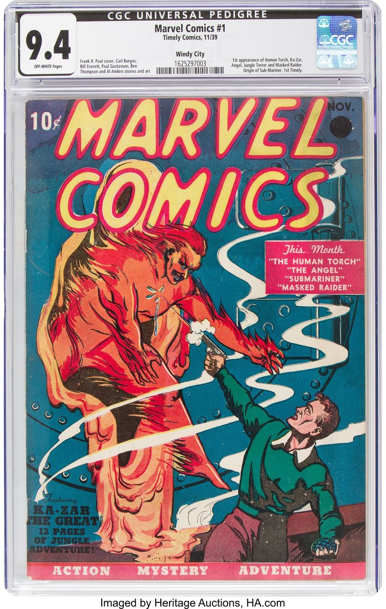Het eerste stripboek dat ooit is uitgebracht door de uitgeverij die toen nog Timely heette. Beeld AFP