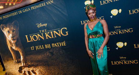 Imanuelle Grives op de rode loper voor de premiere van 'The Lion King', eerder deze maand.