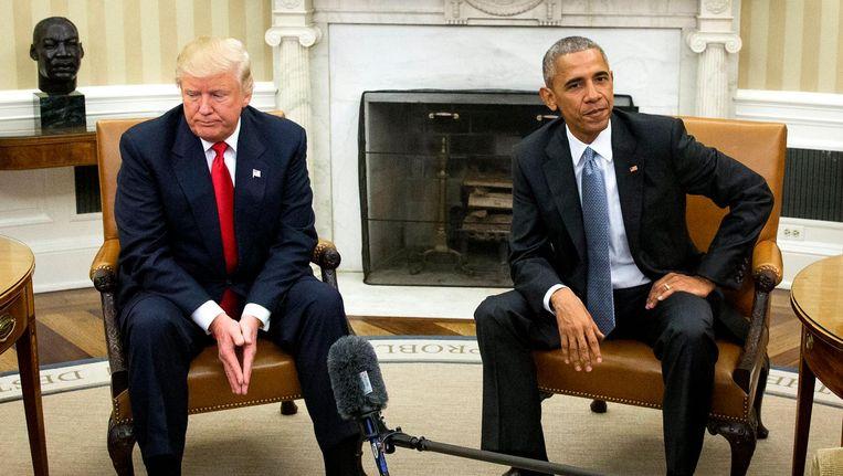 Trump ontmoet Obama op 10 november, nadat hij twee dagen eerder de verkiezingen won. Beeld epa