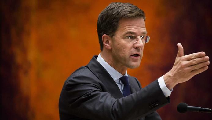 Premier Mark Rutte tijdens het vragenuurtje in de Tweede Kamer.