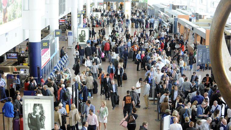 Beeld van Brussels Airport tijdens de panne van Belgocontrol.