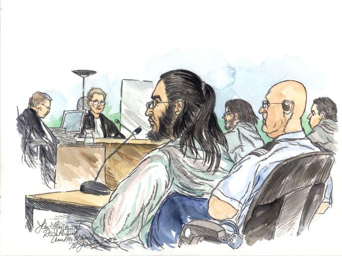 Samir A. tijdens de zittingsdag in de extra beveiligde zittingszaal in Amsterdam Osdorp in 2007.