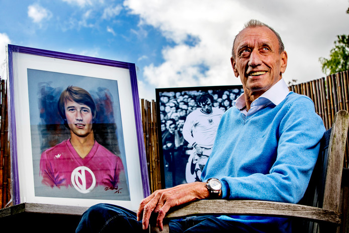 Portret van Rob Rensenbrink en als jonge speler van Anderlecht.