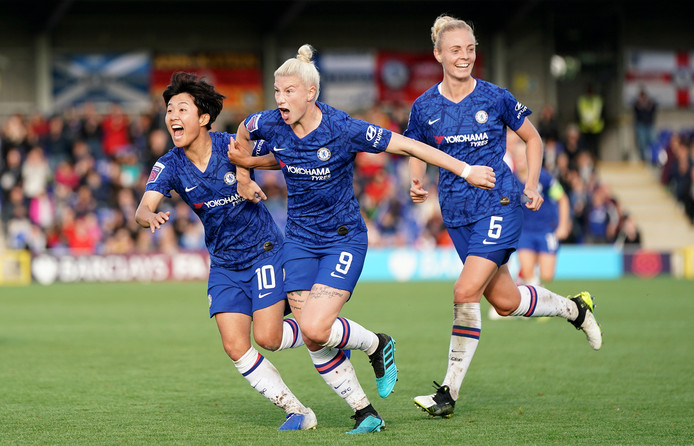 Chelsea's Bethany England celebrates scoring her side's first goal during the FA Women's Super League match at Kingsmeadow, Kingston Upon Thames.