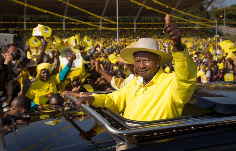 President Yoweri Museveni van Oeganda, al 34 jaar aan de macht. Beeld AP