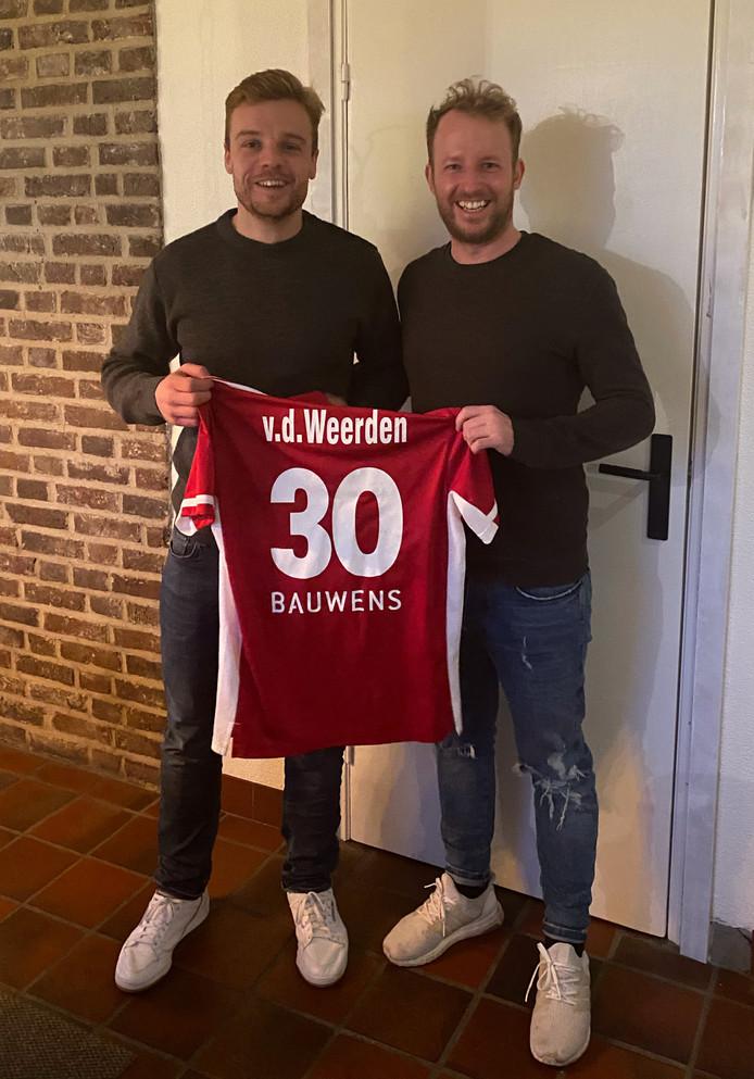 Mink van der Weerden (l) met zijn nieuwe coach André Henning bij Rot-Weiss Köln.