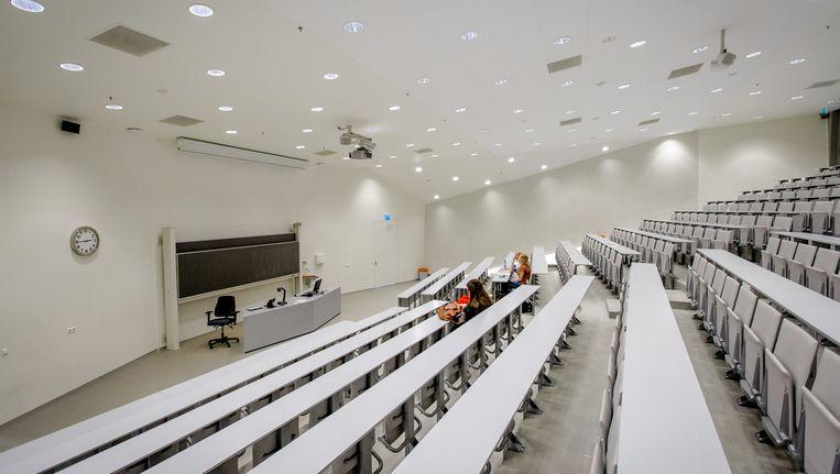 Een lege collegezaal in Groningen. Beeld anp