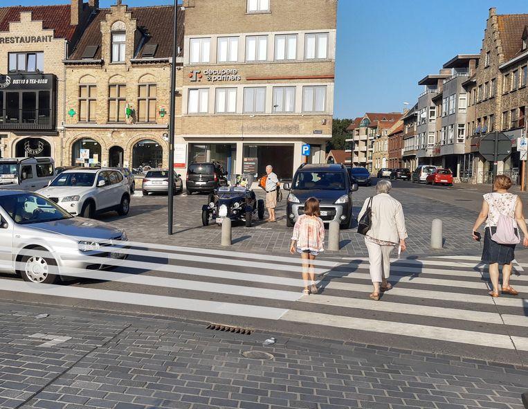 Een simulatie door Groen van het brede zebrapad dat het wil tussen de Grote Markt en het Hauspieplein. Nu ligt daar een gewoon zebrapad.