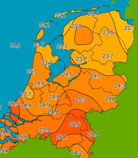 Nergens in Nederland zo warm als in Brabant: 26,6 graden in Volkel gemeten