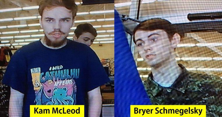 Door de Canadese politie vrijgegeven beelden van Schmegelsky en McLeod. Beeld AFP
