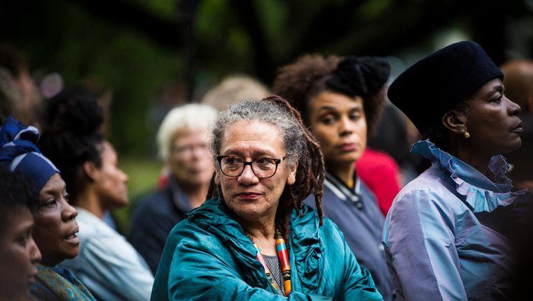 Gloria Wekker tijdens de slavernijherdenking in het Amsterdamse Oosterpark, 30 juni 2016. Beeld anp