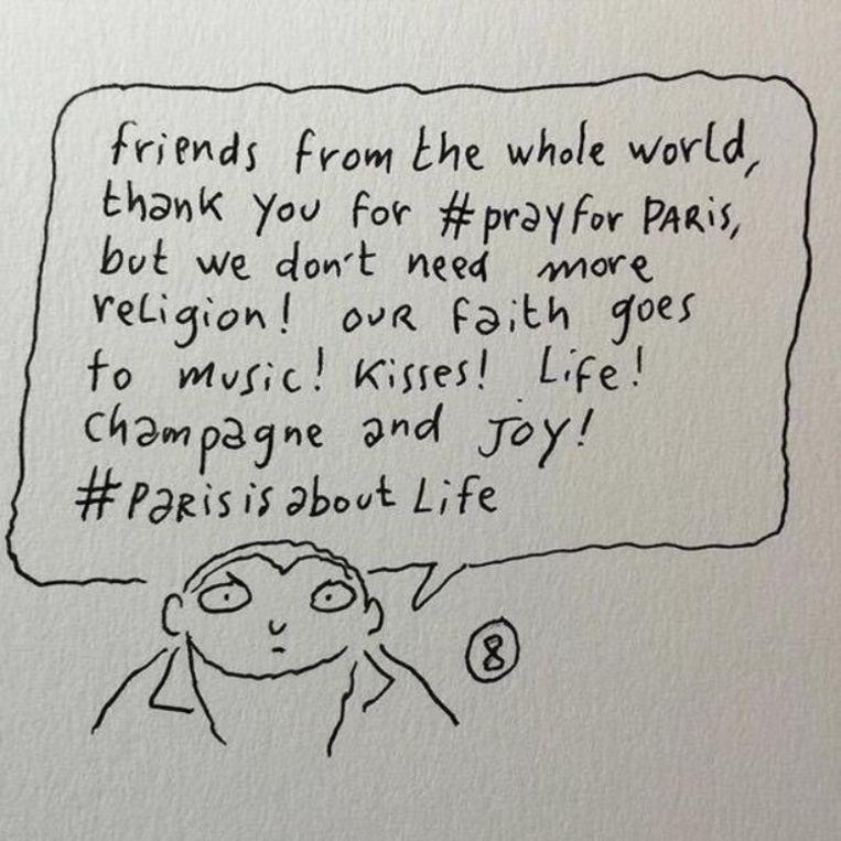 Cartoon van Charlie Hebdo na de aanslagen van vrijdag. Beeld