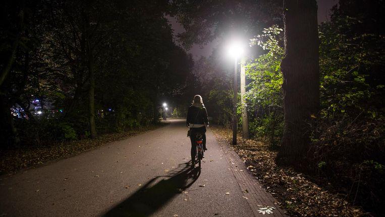 Zelfs het Vondelpark, overdag loeidruk, is laat op de avond leeg. Beeld Eva Plevier