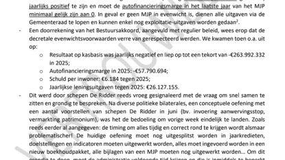 """Als bestuursakkoord uitgevoerd wordt, stijgt tekort naar 260 miljoen euro of 6.184 euro schuld per inwoner: """"Is er vorig jaar een bestuursakkoord of een sprookje geschreven?"""""""