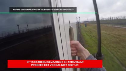 Levensgevaarlijk: Nederlandse YouTuber doet aan train surfing