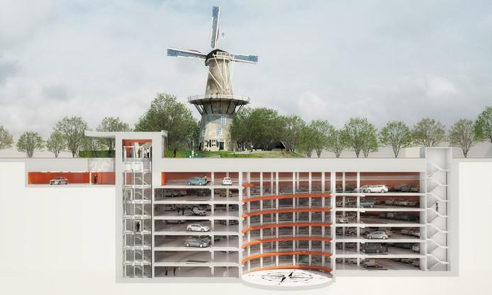 Een artist impression die een goed beeld geeft van het bouwkundig parkeerhoogstandje in Leiden
