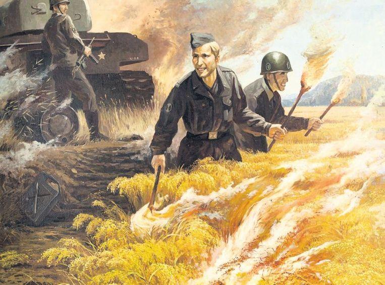 Ro U-dam: 'Amerikaanse honden die een rijstveld in brand steken'. Dit werk moet de wreedheid tonen van Amerikaanse troepen tijdens de Korea-oorlog. Beeld A. L. Heijnen