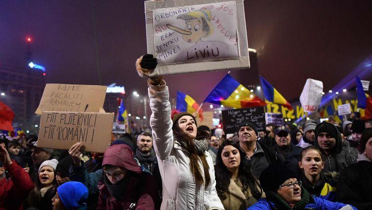 Anticorruptiebetogers in Boekarest Beeld afp
