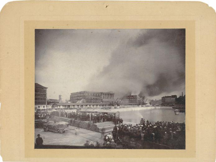 Megabrand op de Entrepotkaai aan het Willemdok, 5 juni 1901