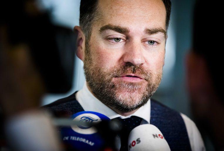 Klaas Dijkhoff (VVD) tijdens het wekelijkse vragenuur. Beeld ANP/Bart Maat