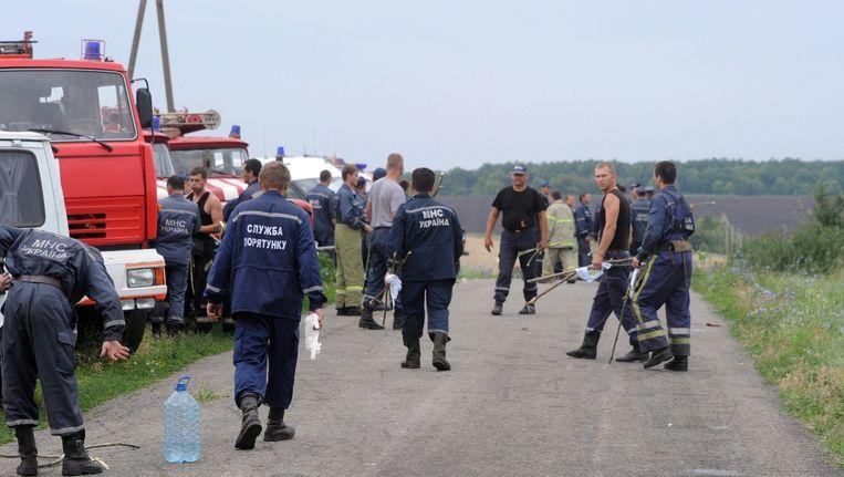 Hulpverleners op de plek van de ramp.