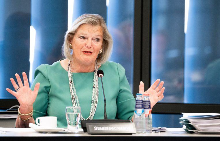 Staatssecretaris Ankie Broekers van Justitie en Veiligheid tijdens een debat in de Tweede Kamer over asiel en migratie. Beeld Freek van den Bergh / de Volkskrant