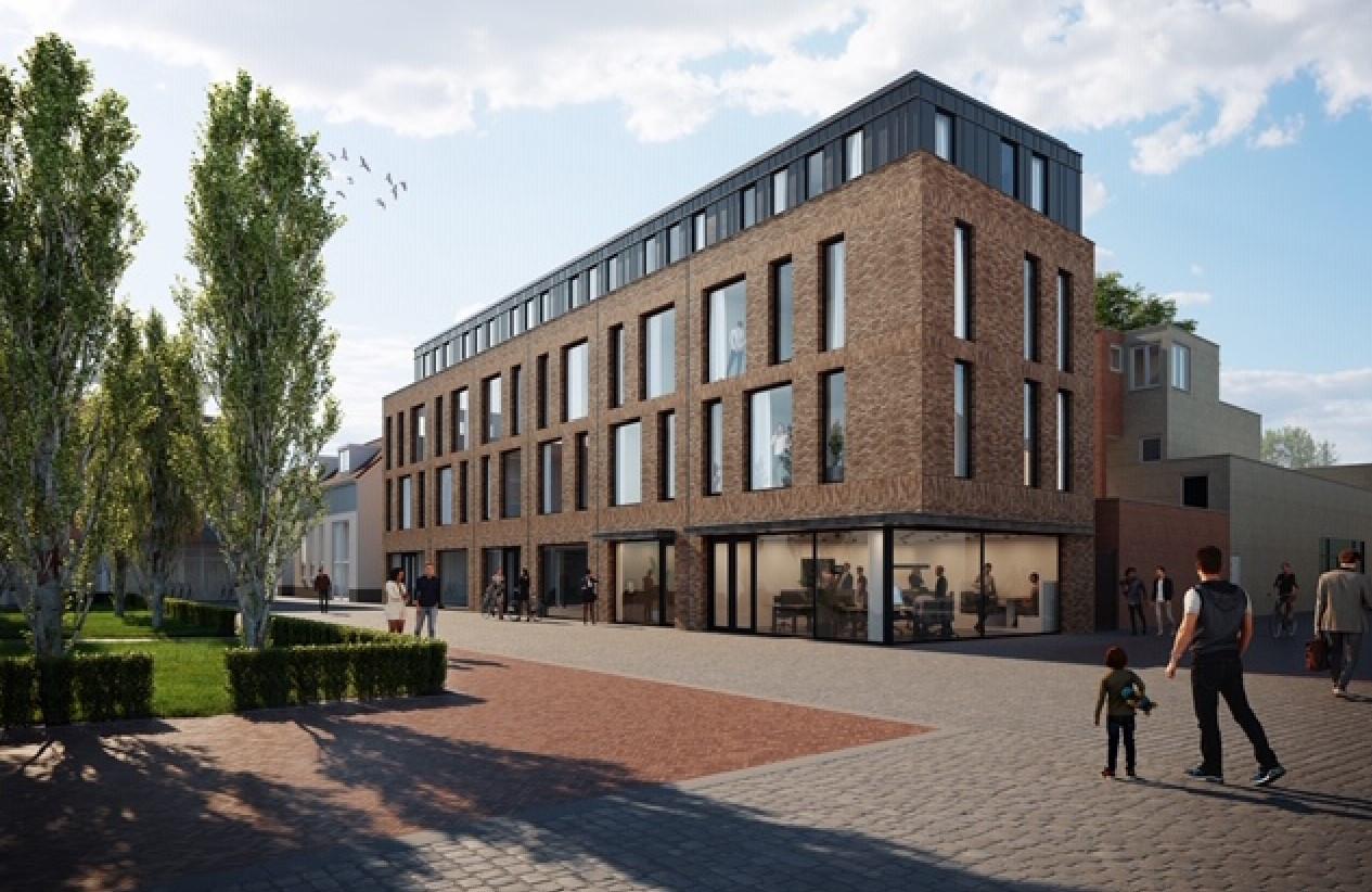 Impressie van het toekomstige gebouw met de extended-stay kamers aan het Bleekveld.