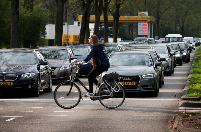 Auto's moeten wachten voor een overstekende fietser op de Noordelijke Randweg Utrecht. Daarom wil de gemeente ongelijkvloerse verkeerspleinen.