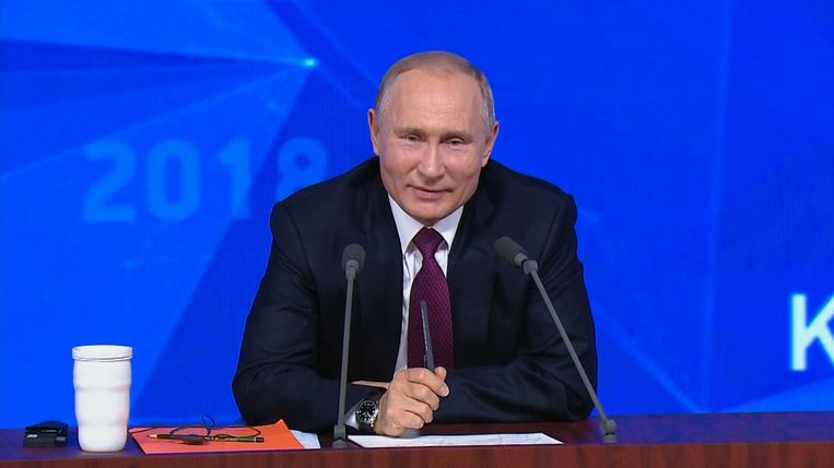 Vladimir Poetin op zijn jaarlijkse persconferentie
