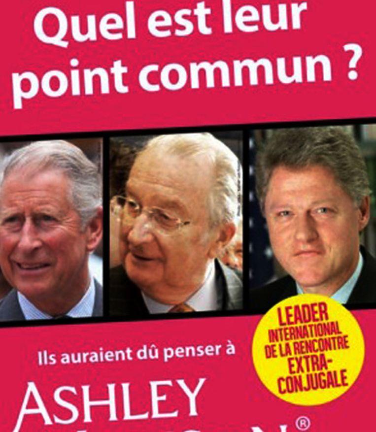 Prins Charles, koning Albert en Bill Clinton. Een deel van de gewraakte affiche. Beeld