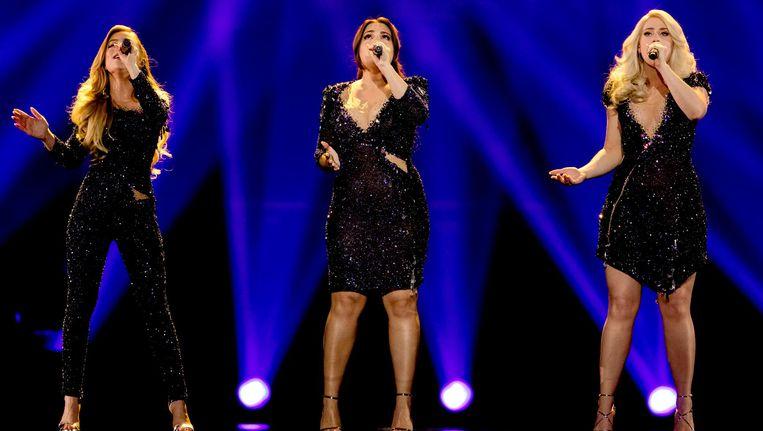 De meidengroep OG3NE oefent voor het Eurovisie Songfestival in Kiev. Beeld anp