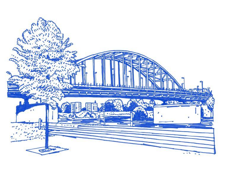 De John Frostbrug die we oversteken, de brug waar de operatie stukliep, zit niet in de film. Beeld Joost Stokhof
