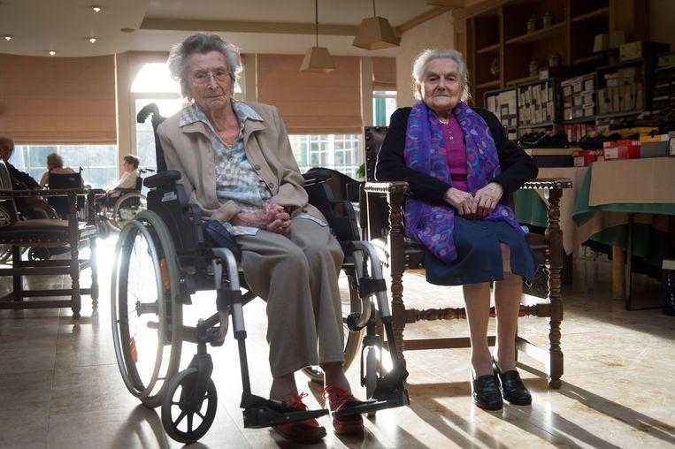 Maria (105) en Madeleine (102) zijn twee van de vijf eeuwelingen in het rusthuis.