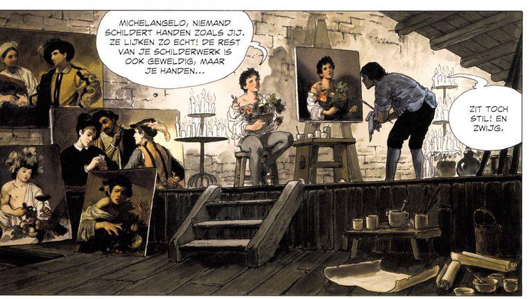 De atelierscènes verklappen veel over de totstandkoming van Caravaggio's boeken. Beeld uit Caravaggio - met degen en palet
