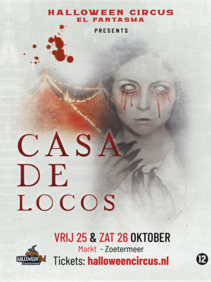 Flyer nieuwe Halloweenshow Casa de Locos