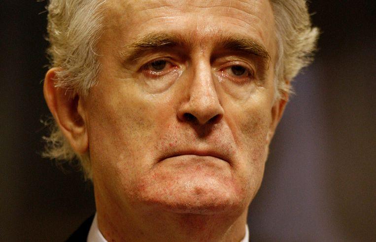De voormalige Bosnisch-Servische politiek leider in  de rechtszaal van het Joegoslaviëtribunaal.  Beeld AP