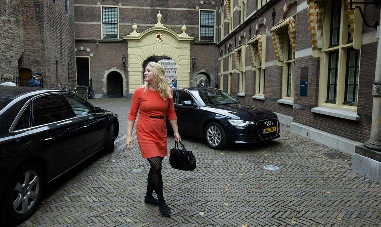 Minister Melanie Schultz van Infrastructuur en Milieu arriveert op het Binnenhof voor de begrotingsraad. Beeld anp