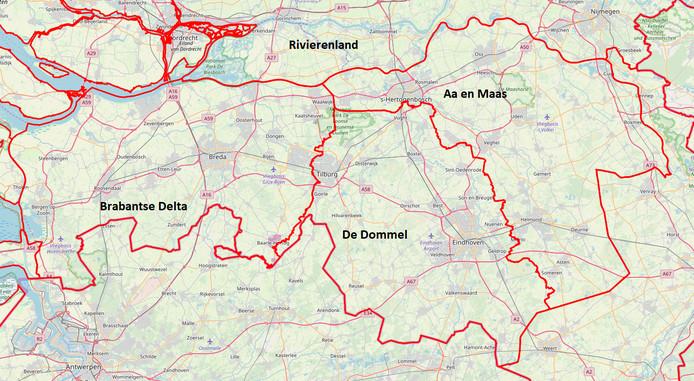 De grenzen van de waterschappen in Brabant.