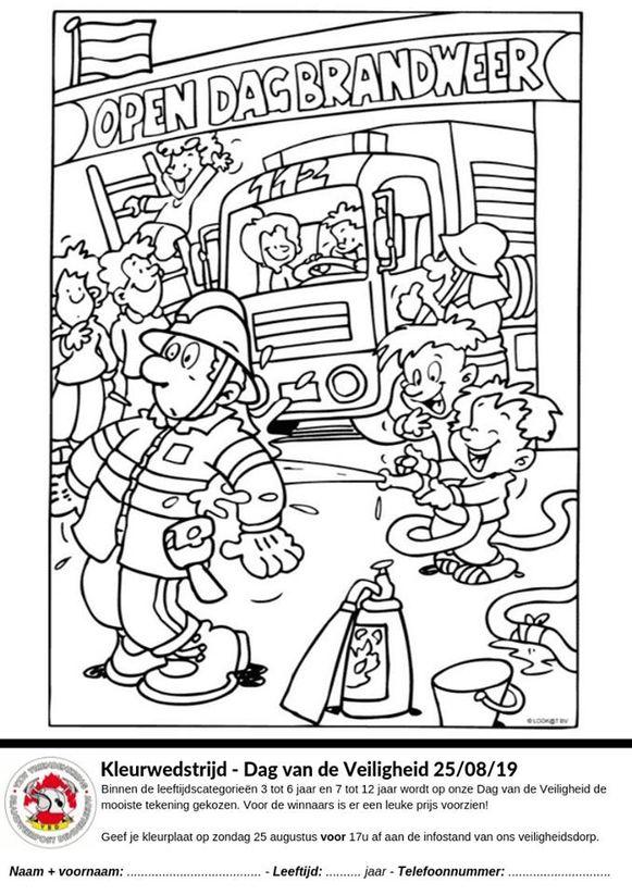 De brandweer organiseert ook een tekenwedstrijd die dag voor de kinderen. Deze tekening moet je op de dag binnen brengen voor 17.00 uur.