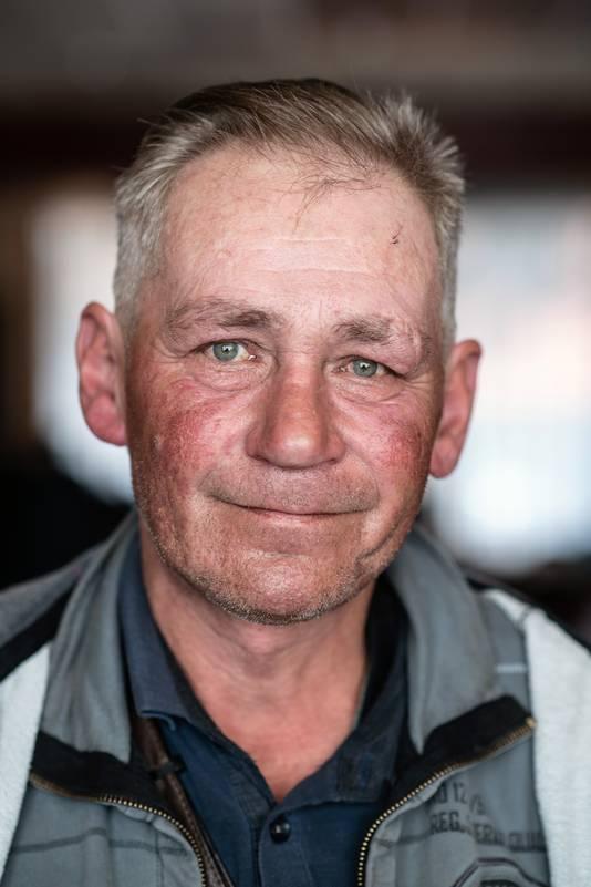 De vermoorde dakloze Pool Jarek (Jaroslaw) op 12 oktober 2018 tijdens de make-over op de Daklozendag in het Kolpinghuis, na een knipbeurt van Theo Knoop.